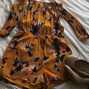 Yellow Floral Romper One  ❤️ Clothing
